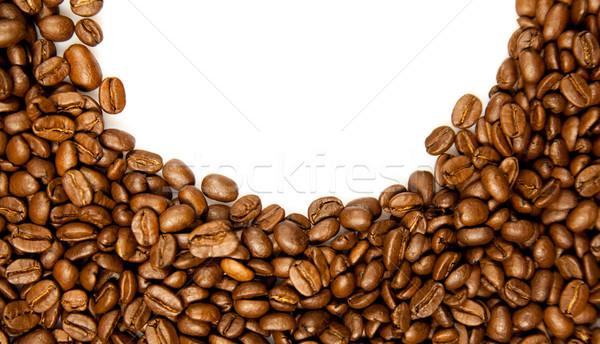 Coffee Border.  brown coffee beans isolated on white background. Stock photo © EwaStudio