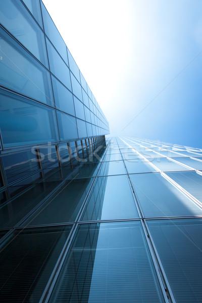 Abstrakten Gebäude blau Glas Wand Wolkenkratzer Stock foto © EwaStudio