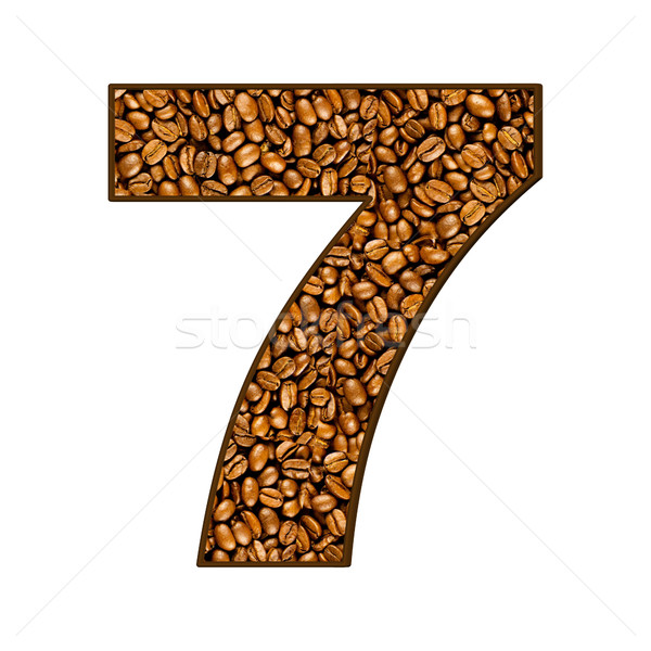 number from coffee beans on white.  7 Stock photo © EwaStudio