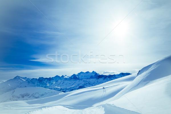 Tél tájkép hegyek gyönyörű hó kék Stock fotó © EwaStudio