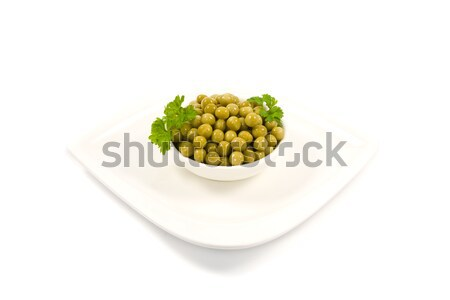 Green mung beans in bowl  isolated on white Stock photo © EwaStudio