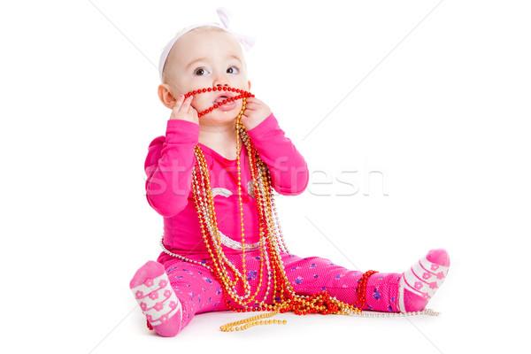 baby girl playing with  beads.  beautiful baby girl.  Happy Baby Stock photo © EwaStudio