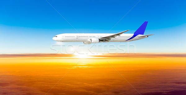 Repülőgép égbolt naplemente repülőgép kék napfelkelte Stock fotó © EwaStudio