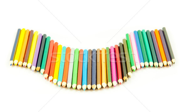 Colour pencils isolated on white background.  Many different col Stock photo © EwaStudio