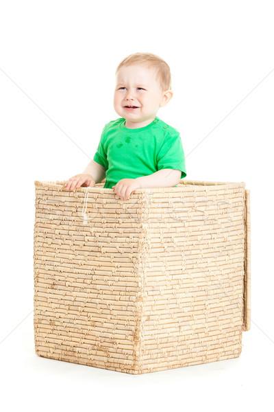 Küçük erkek içinde kutu beyaz iş Stok fotoğraf © EwaStudio