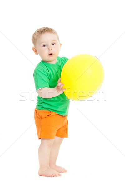 baby boy with yellow ballon Stock photo © EwaStudio