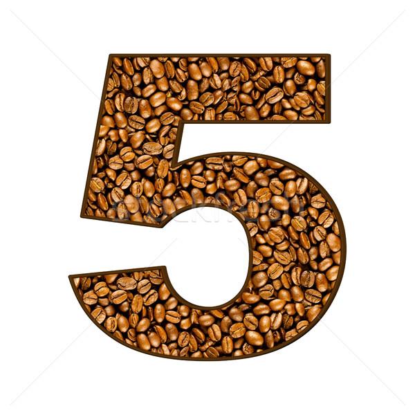 Número grãos de café branco café abstrato fundo Foto stock © EwaStudio