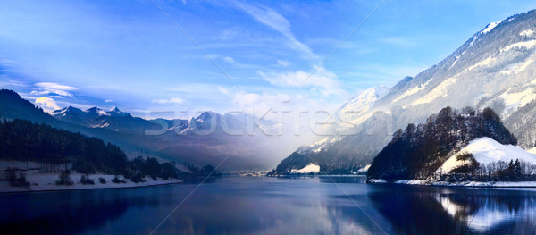 Panorama of Snow Mountain. Winter in the swiss alps. Stock photo © EwaStudio