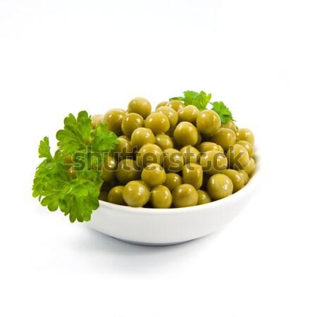Zöld bab tál izolált fehér főzés Stock fotó © EwaStudio