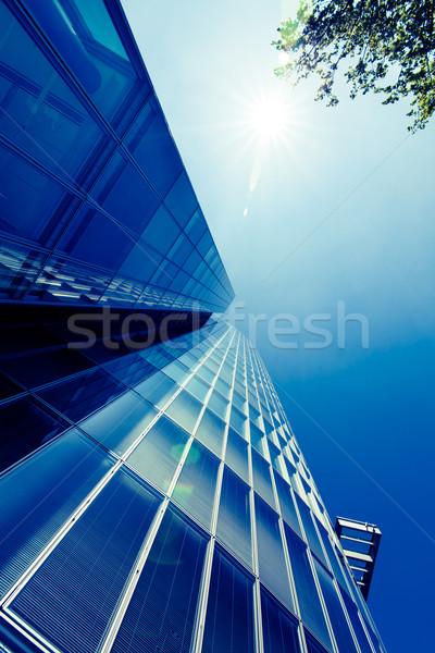 внешний стекла жилой здании современных силуэта Сток-фото © EwaStudio