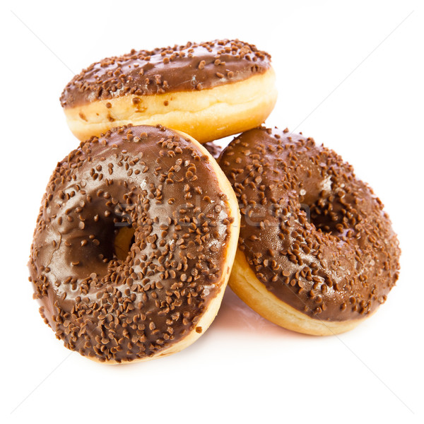 Chocolate Donuts . Isolated on a white background. doughnut Stock photo © EwaStudio