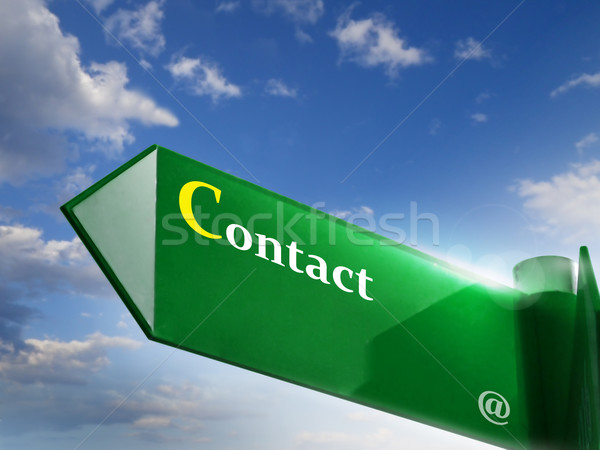 Stockfoto: Contact · verkeersbord · wolken · abstract · straat · web