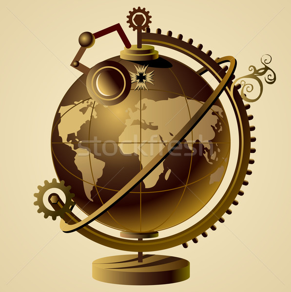 Steampunk vector wereldbol mechanisme wereld machine Stockfoto © exile7