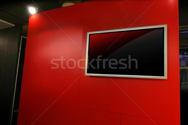 Rojo panel exposición pared luces información Foto stock © exile7