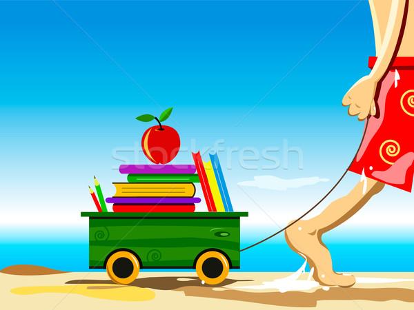 Volver a la escuela ilustración ninos manzana mar nino Foto stock © exile7