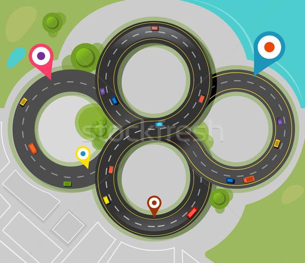 Vector ciudad mapa carretera calle árboles Foto stock © exile7