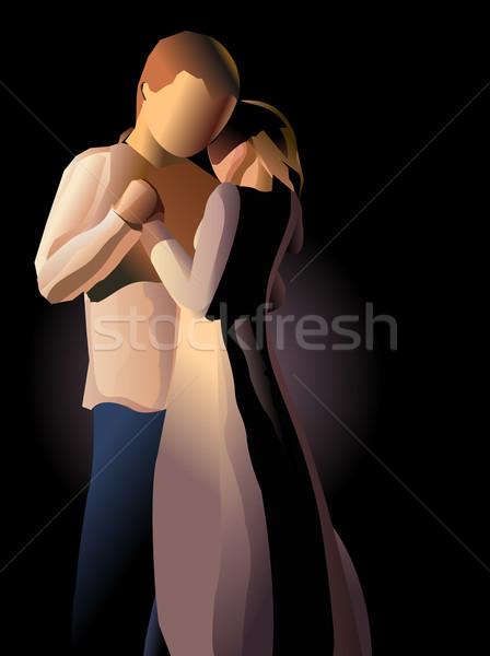 Pareja amor baile noche mujer beso Foto stock © exile7