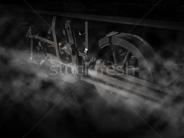 Vapor poder vintage tren ruedas blanco negro Foto stock © exile7