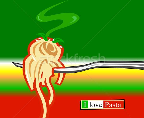 Stockfoto: Liefde · pasta · Italiaans · illustratie · groene · diner