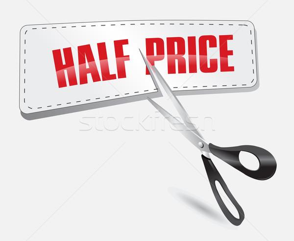 Mitad precio etiqueta tijeras negocios papel Foto stock © exile7