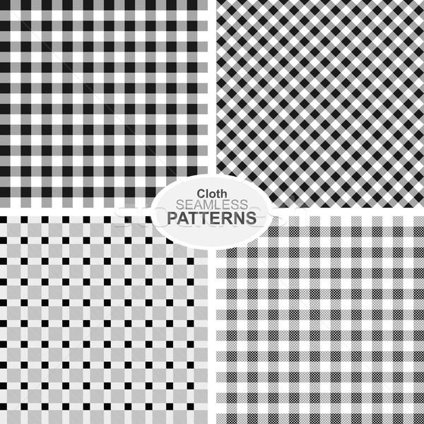 Gyűjtemény végtelenített textil minták feketefehér fal Stock fotó © ExpressVectors