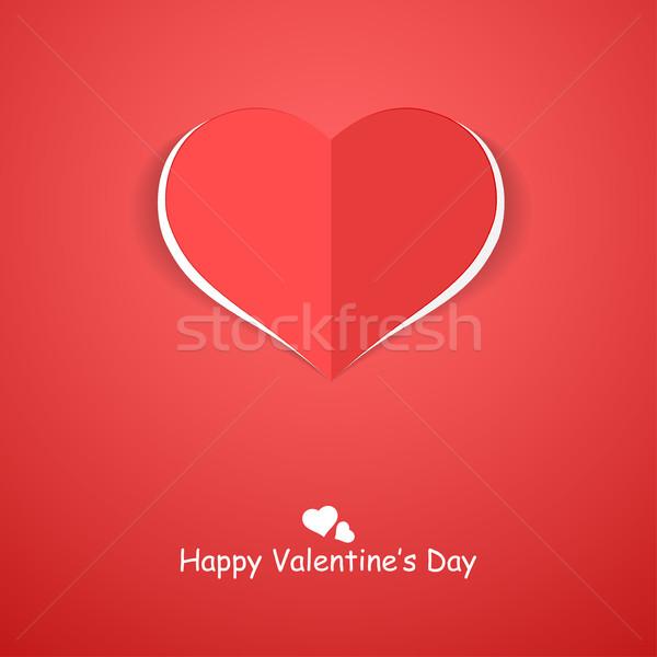 Papír origami szív boldog valentin nap piros Stock fotó © ExpressVectors