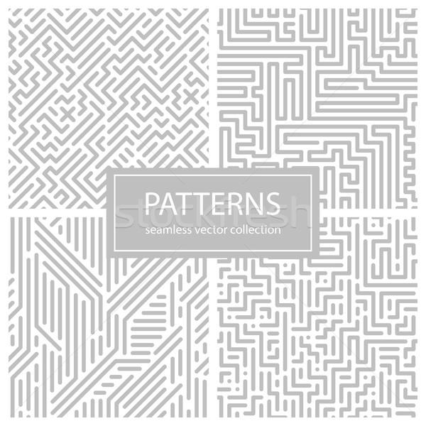 コレクション 縞模様の シームレス 幾何学的な パターン グレー ストックフォト © ExpressVectors