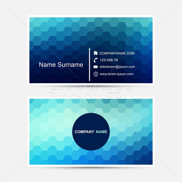 Vector business card template. Blue design. Stock photo © ExpressVectors