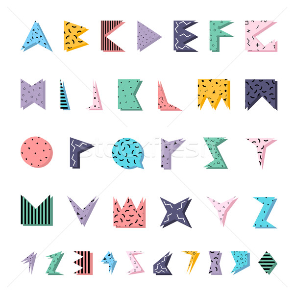 Stock photo: Abstract colorful alphabet in memphis style.
