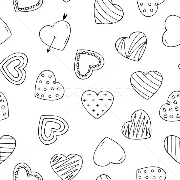 Végtelenített Valentin nap szívek minta firka stílus Stock fotó © ExpressVectors