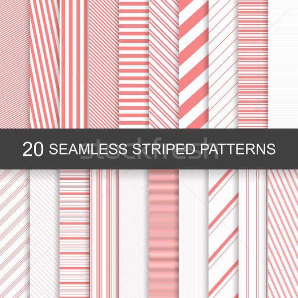 ストックフォト: ベクトル · シームレス · 縞模様の · パターン · 20 · 赤