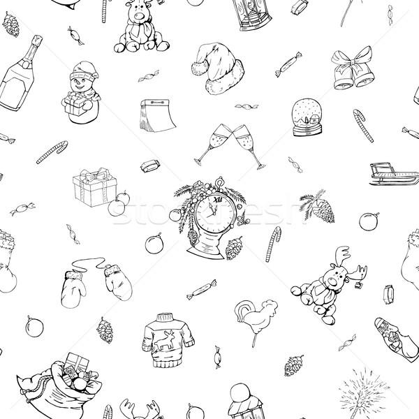 Natale doodle stile sfondo finestra Foto d'archivio © ExpressVectors
