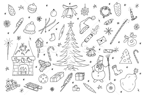 Kézzel rajzolt karácsony elemek szett illusztráció firka Stock fotó © ExpressVectors