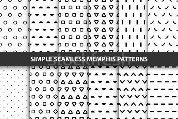 Collection of simple seamless geometric patterns. Memphis design. Stock photo © ExpressVectors