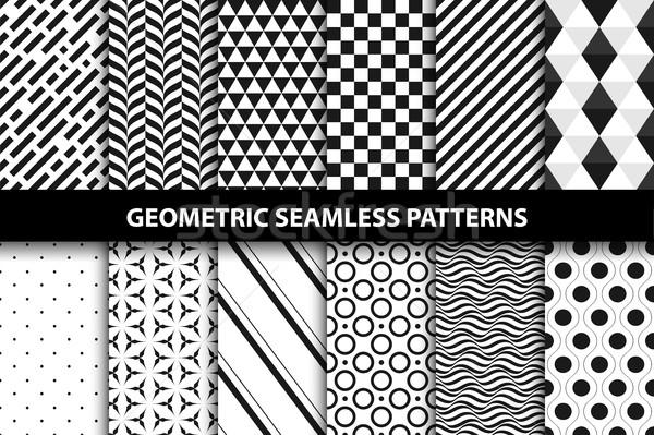Mértani minták vektor végtelenített gyűjtemény feketefehér Stock fotó © ExpressVectors