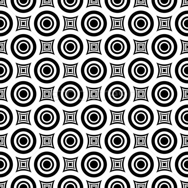 Sem costura hipnótico padrão geométrico vetor preto e branco Foto stock © ExpressVectors