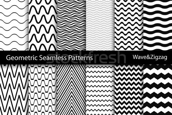Gyűjtemény mértani végtelenített minták hullám cikcakk textúra Stock fotó © ExpressVectors