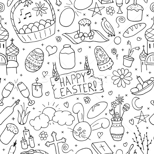 Seamless happy easter elements pattern in doodle style. Stock photo © ExpressVectors