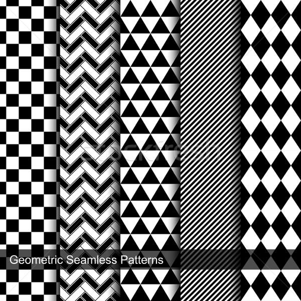 Kolekcja geometryczny Płytka czarno białe tekstury Zdjęcia stock © ExpressVectors