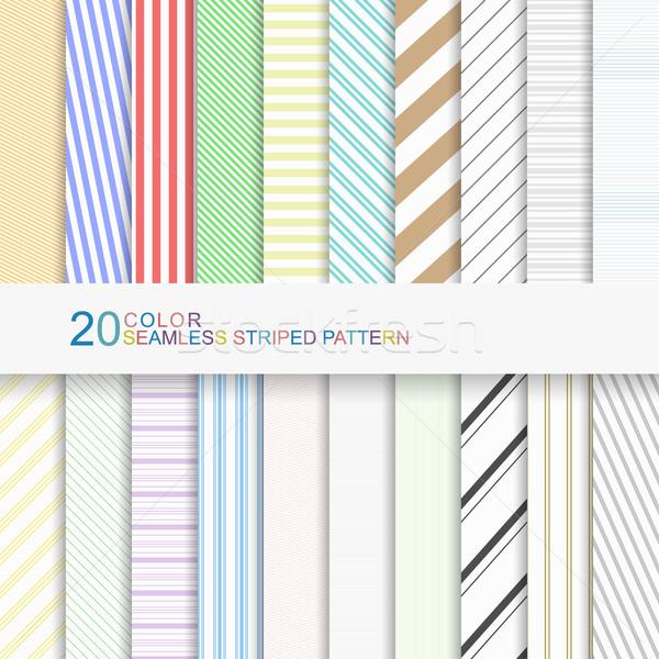 20 color sin costura a rayas patrones establecer Foto stock © ExpressVectors
