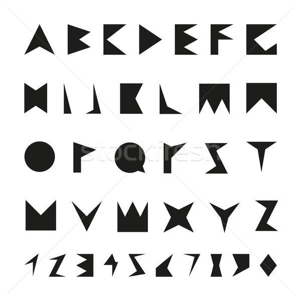 Siyah sayılar vektör alfabe minimalist Stok fotoğraf © ExpressVectors