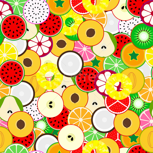 Bright fruit seamless background. Tropical mix. Stock photo © ExpressVectors