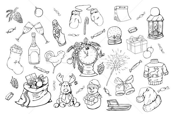 Dessinés à la main Noël illustration doodle Photo stock © ExpressVectors