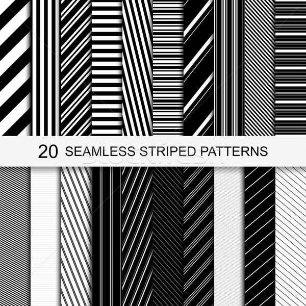 20 senza soluzione di continuità strisce modelli bianco nero texture Foto d'archivio © ExpressVectors