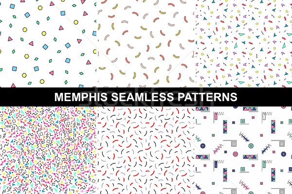 Collection of abstract memphis colorful patterns. Stock photo © ExpressVectors