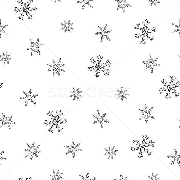 Photo stock: Noël · flocon · de · neige · flocons · de · neige · dessinés · à · la · main · fête