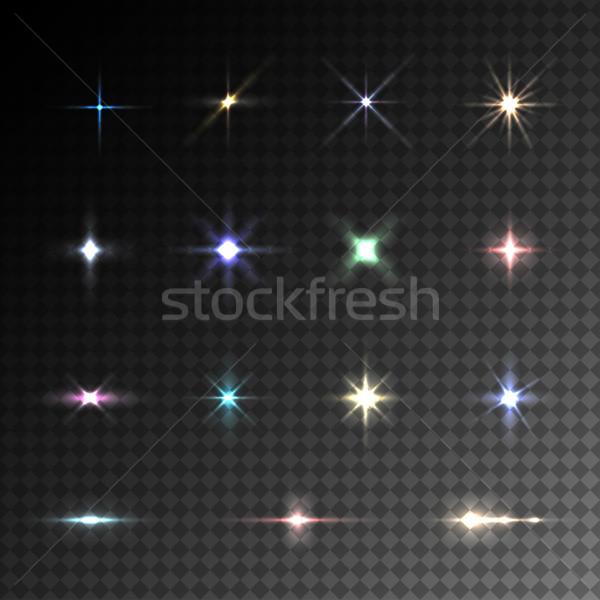 Zdjęcia stock: Kolekcja · wektora · kolorowy · migotać · efekty · świetlne · przezroczysty