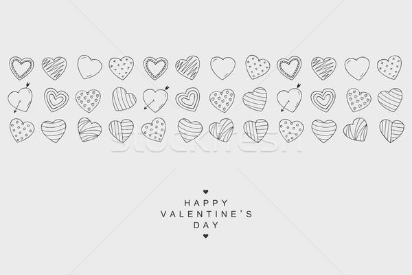 Coeurs icônes bannière heureux saint valentin carte Photo stock © ExpressVectors