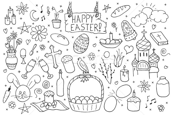 Collection of happy easter elements.Hand drawn icon set. Stock photo © ExpressVectors