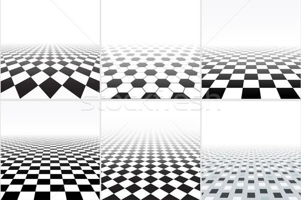 ベクトル タイル張りの 階 コレクション 抽象的な 背景 ストックフォト © ExpressVectors
